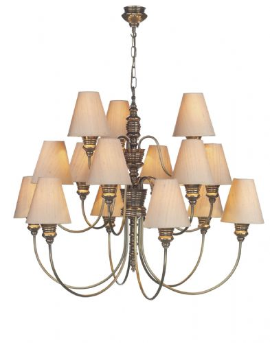Dar Doreen 15 Light Bronze Pendant complete with Silk Shades (Specify Colour) DOR1500